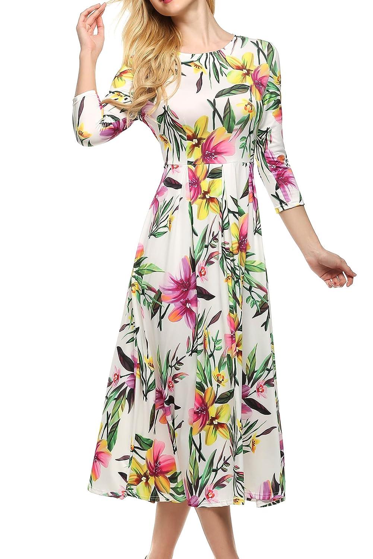 ACEVOG Damen Kleid Rundhals 3/4 Arm Cocktailkleid mit Blumenmuster Knielang Herstellergröße: S-XXL