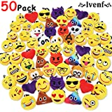 "Ivenf Pack of 50 5cm/2"" Emoji Poop Plush Keychain Birthday Party Favors Supplies Mini Pillows Set, Emoticon Backpack Clips, Goodie Bag Stuffers Pinata Fillers Novelty Gifts Toys Prizes for Kids"