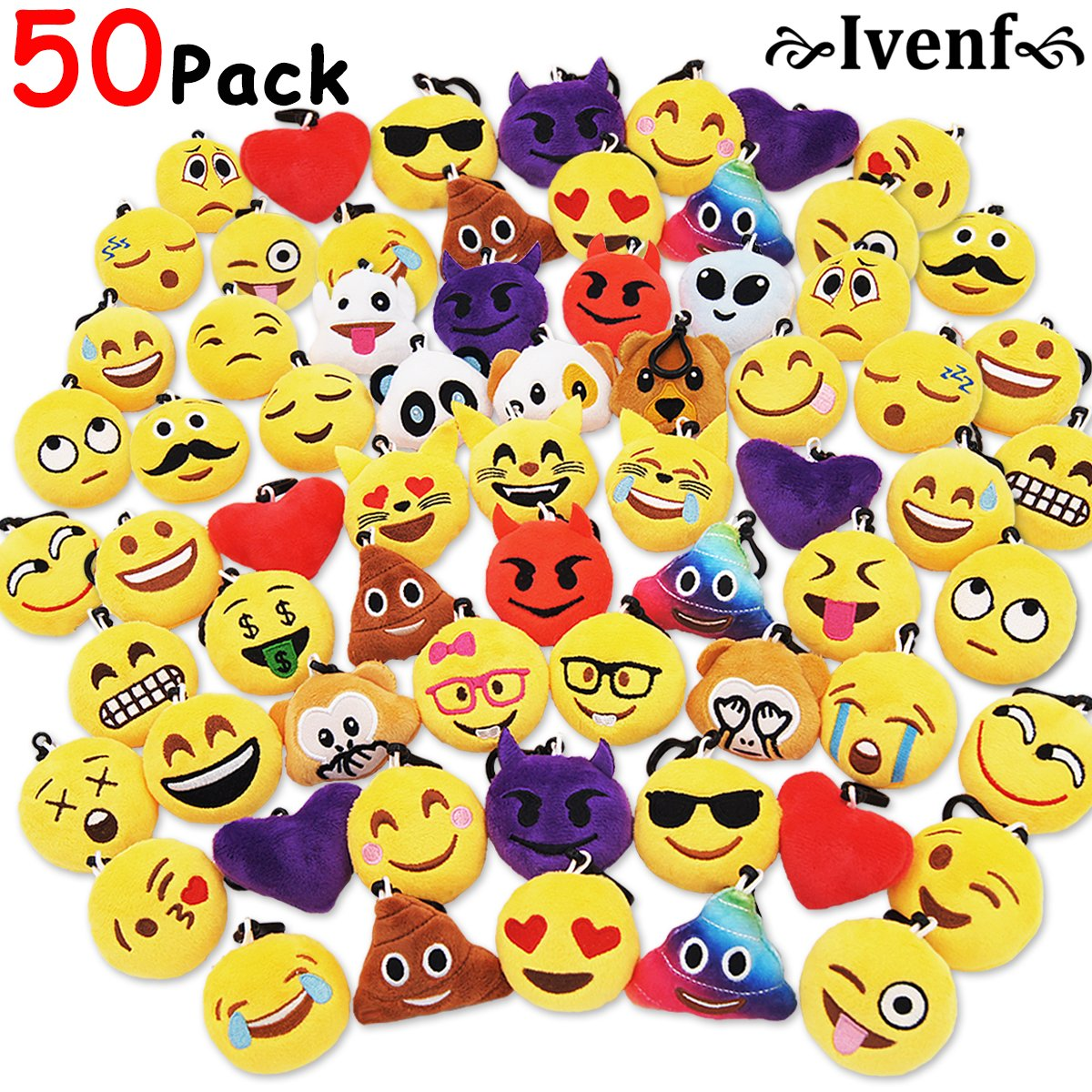 Ivenf Pack of 50 5cm/2'' Emoji Poop Plush Keychain Birthday Party Favors Supplies Mini Pillows Set, Emoticon Backpack Clips, Goodie Bag Stuffers Pinata Fillers Novelty Gifts Toys Prizes for Kids by Ivenf