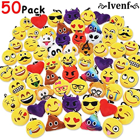 Ivenf Pack Of 50 5cm 2 Emoji Poop Plush Keychain Birthday Party Favors Supplies Mini Pillows Set Emoticon Backpack Clips Goodie Bag Stuffers Pinata