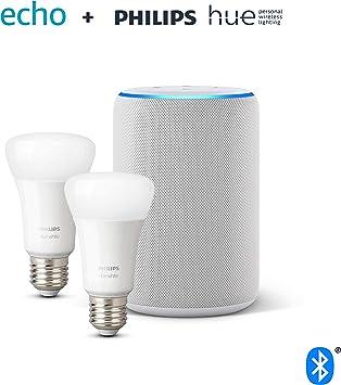 Image ofAmazon Echo (3.ª generación), tela de color gris claro + Philips Hue White Pack de 2 bombillas LED inteligentes, compatible con Bluetooth y Zigbee, no se requiere controlador