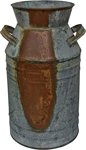 Milk Can – 13 Galvanized Finish – Country Rustic Primitive Jug Vase