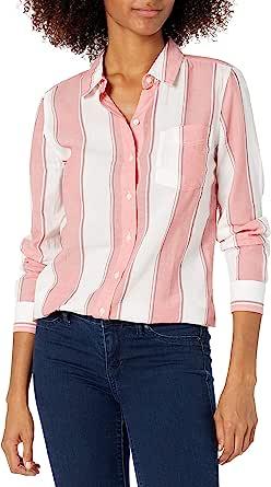 Goodthreads Amazon Brand Women's Cotton Dobby Long-Sleeve Button-Front Tunic Shirt