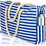 Beach Bag XXL (Huge). 100% Waterproof. L22 xH15 xW6 (56x38x15cm). Rope Handles, Top Zipper, Outside Pockets. Shoulder Beach Tote has Phone Case, Built-in Key Holder, Bottle Opener (Bright Blue)