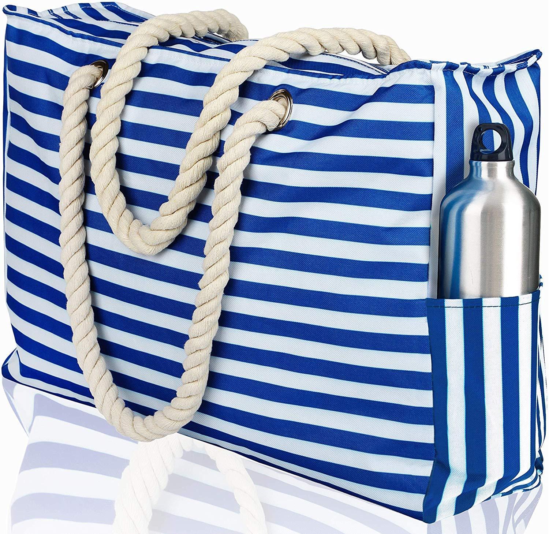Beach Bag XL. 100% Waterproof (IP64). L22 xH15 xW6. Zipper Closure. Phone Case Key Holder Bottle Opener