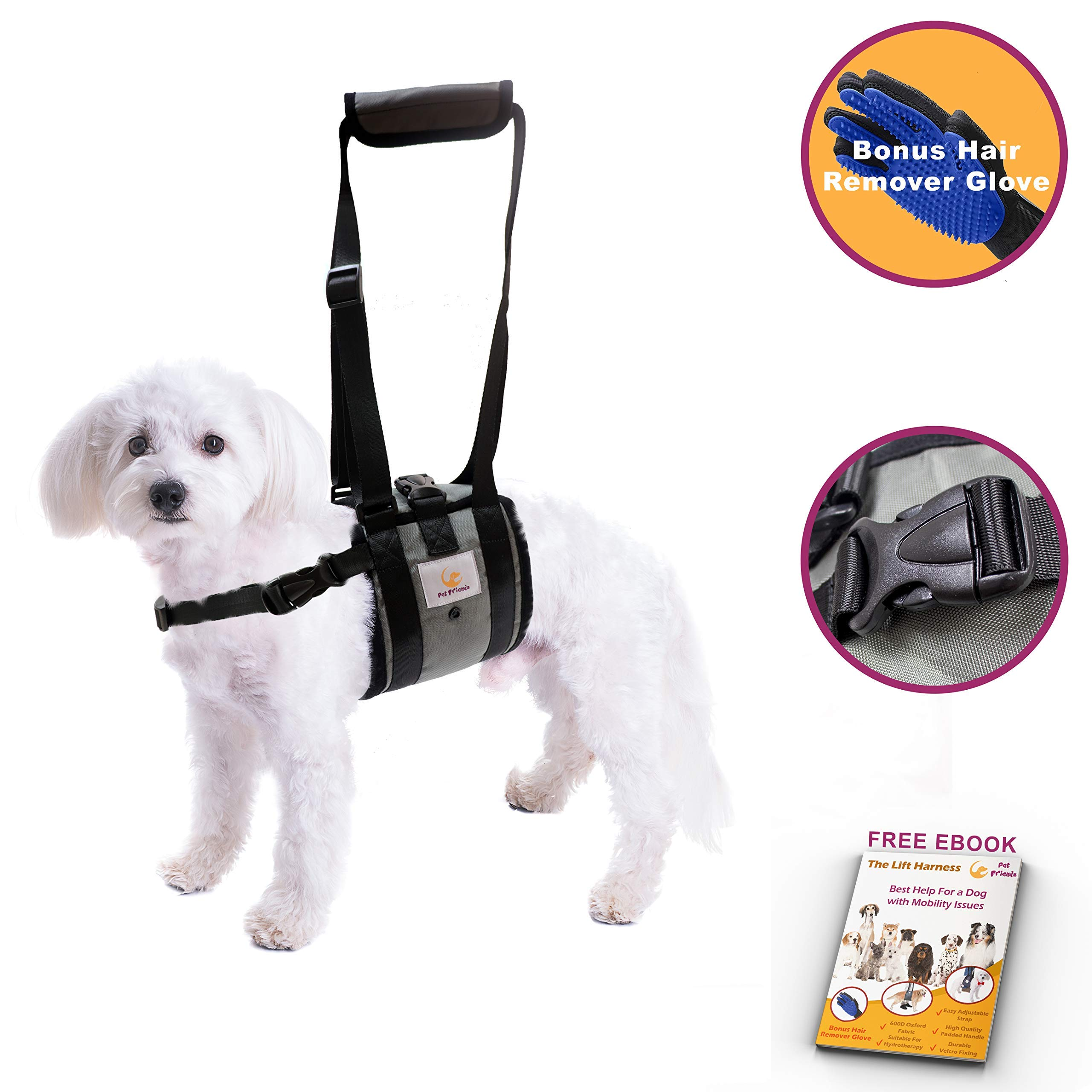 Veterinarian Approved Dog Support Harness + Hair Remover Glove - Dogs Sling Lift for Paralyzed Legs - Adjustable Straps - Mobility Rehabilitation for Injured Arthritis Elderly Disabled - Medium Breed