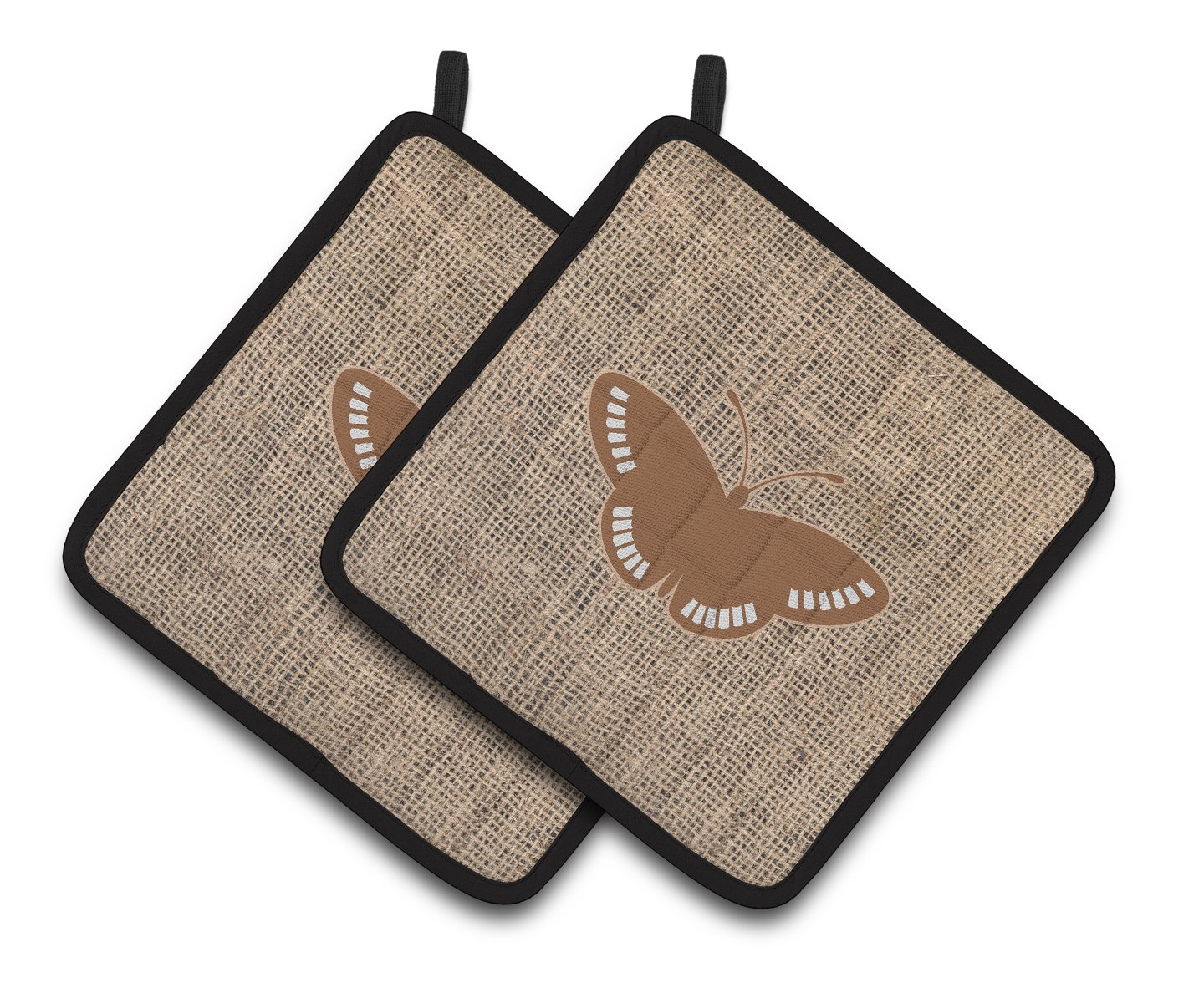 Carolines Treasures Butterfly Faux Burlap /& Brown Pair of Pot Holders BB1031-BL-BN-PTHD Multicolor 7.5HX7.5W