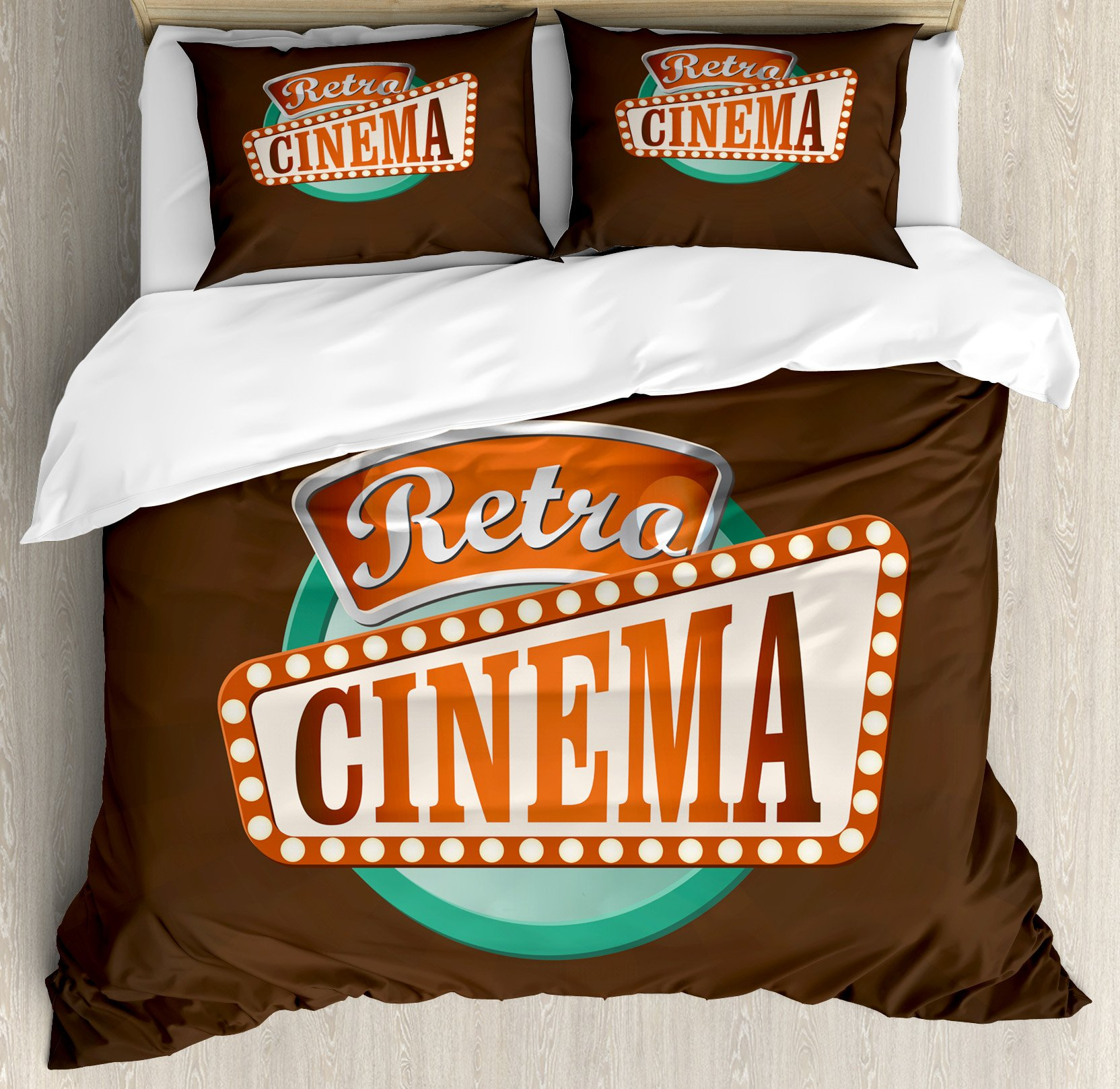 Ambesonne Movie Theater Queen Size Duvet Cover Set, Retro Style Cinema Sign Design Film Festival Hollywood Theme, Decorative 3 Piece Bedding Set with 2 Pillow Shams, Brown Turquoise Vermilion