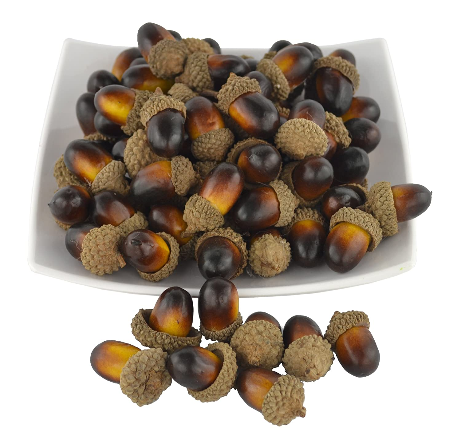 SAMYO 50 PCS Simulation Artificial Lifelike Fruit Nutty-Brown Acorns for Fall Table Scatter Crafting, Drawing,Home House Kitchen and Autumn Decoration