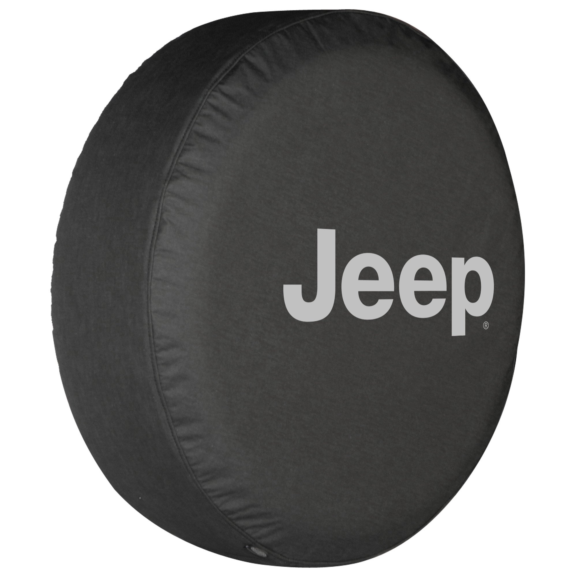 32'' Jeep Logo Tire Cover - (Black Denim Vinyl) - Silver Print - Made in the USA