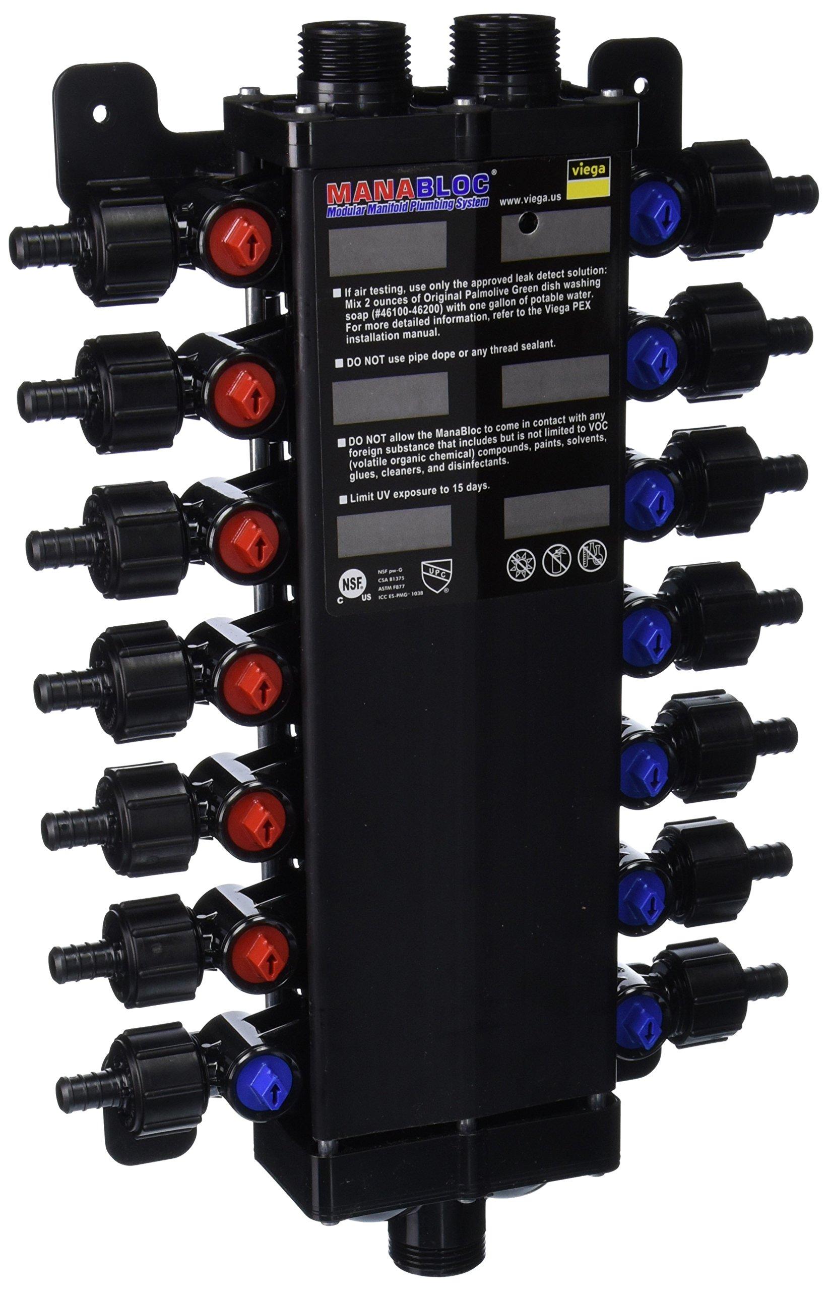 Viega 50143 - 1/2-Inch PureFlow Zero Lead Poly Alloy PEX Crimp Manabloc With 14 Ports - 8 Cold 6 Hot by Viega