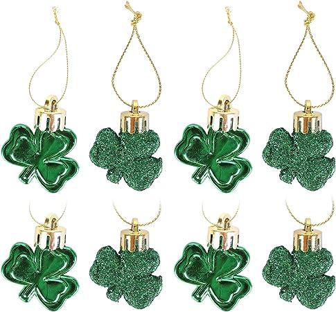 Good Luck Clover Hanging Bauble for Tree Baubles Table Shelf Festival Decorations DKKLRR 24 Pieces St Patricks Day Shamrocks Ornament