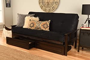 Kodiak Furniture Monterey Futon Set with Storage Drawers (Multiple finishes Available) Innerspring Mattress Included, Full, Suede Black