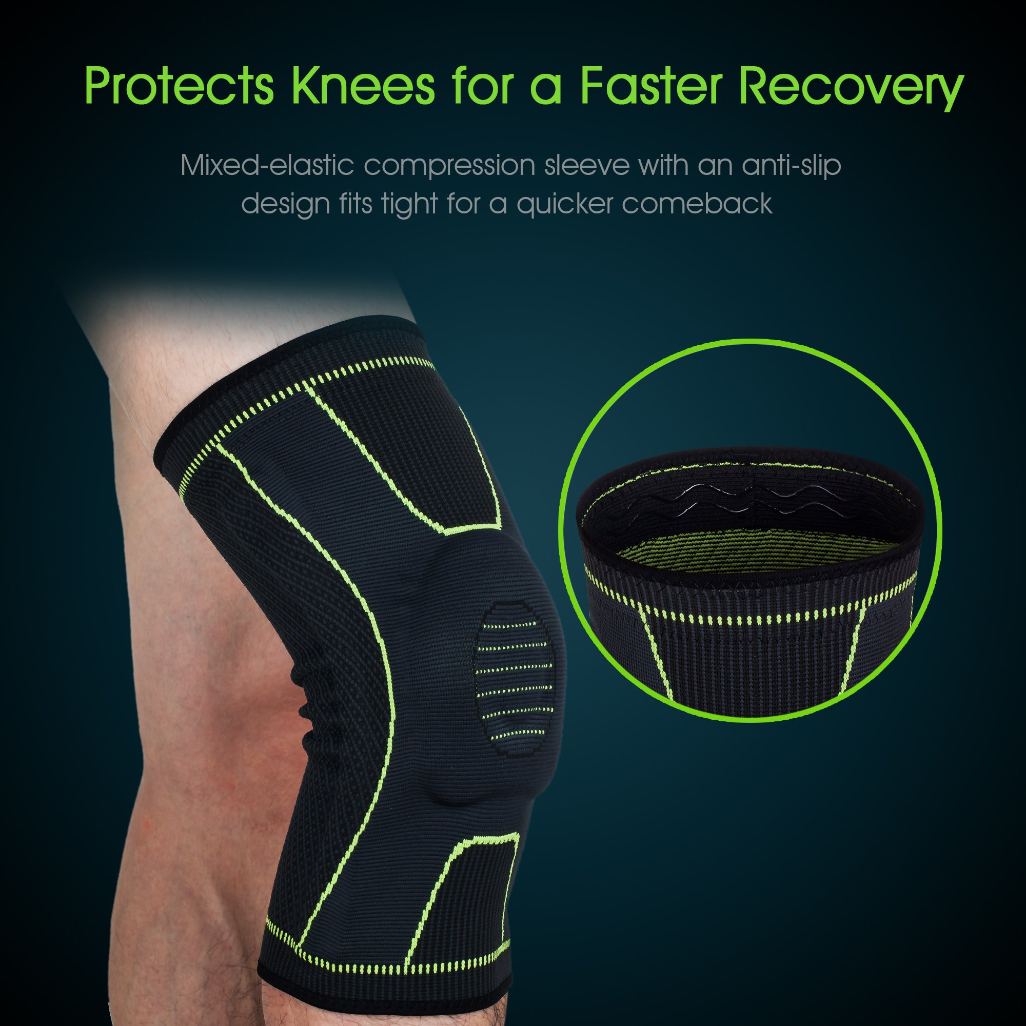 Knee Brace Elbow Protector Set Support Professional Sleeve Pads Wrap L/XL Targeted Support for Pain Relief and Stabilization of The Knee Provides Relief of Weak Swollen and Injured
