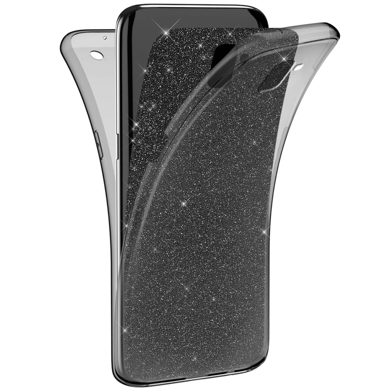 JAWSEU Custodia Compatibile con Samsung Galaxy J6 Plus Silicone TPU Trasparente, Ultra Sottile[360 Gradi] Protezione Completa Glitter Sparkle Bling Cover Flessibile Morbida Soft Gel Bumper Case JBGMB000432D