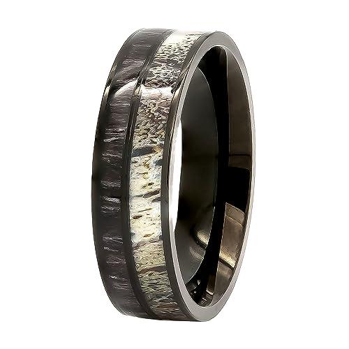 Natural anillo de asta de ciervo con negro KOA incrustación de madera – negro acero inoxidable