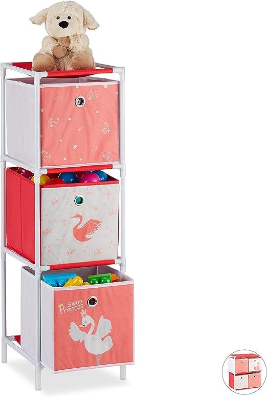 Relaxdays Kinderregal mit 3 Boxen, Spielzeug, Mädchen ...