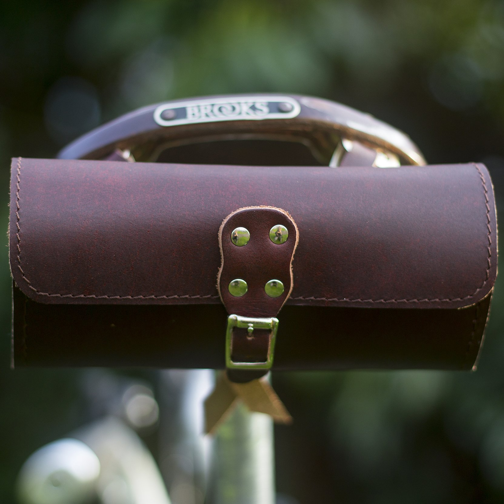 Classic Genuine Leather Saddle Bag Handlebar Frame Bag in CHERRY BROWN UK MADE Tracked shipping