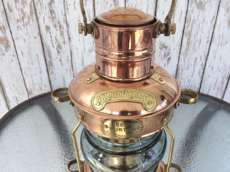 Brass Anchor Oil Lamp ~ Nautical Maritime Ship Lantern ~ Boat Light