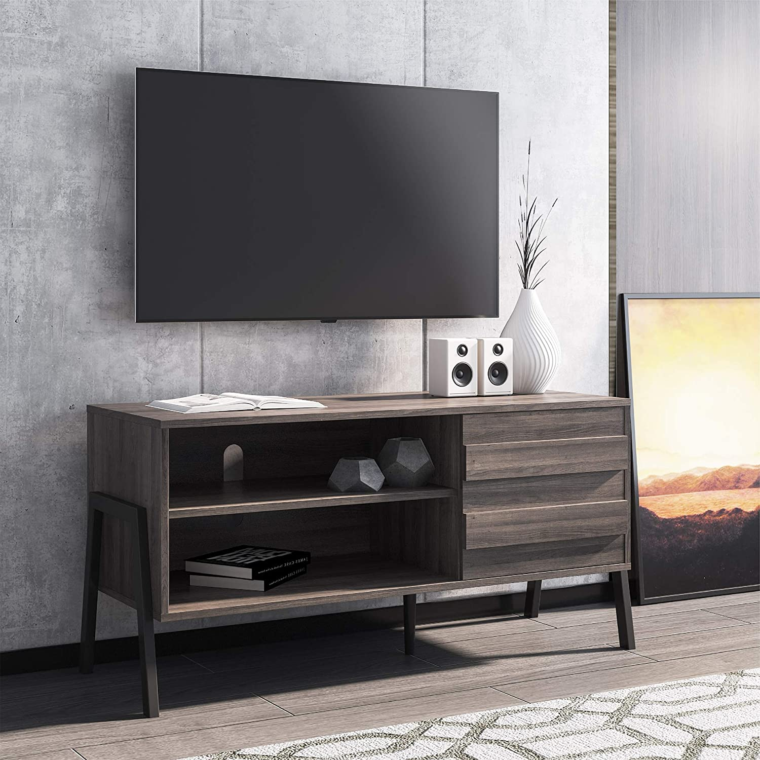 "FITUEYES Mid Century TV Stand for 50"" Flat Screen TV Retro Modern Entertainment Center for Living Room, Wood Media Console with Storage,Rustic Oak"