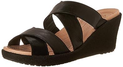 Crocs Women's A-Leigh Crisscross W Wedge Sandal, Black/Black, ...