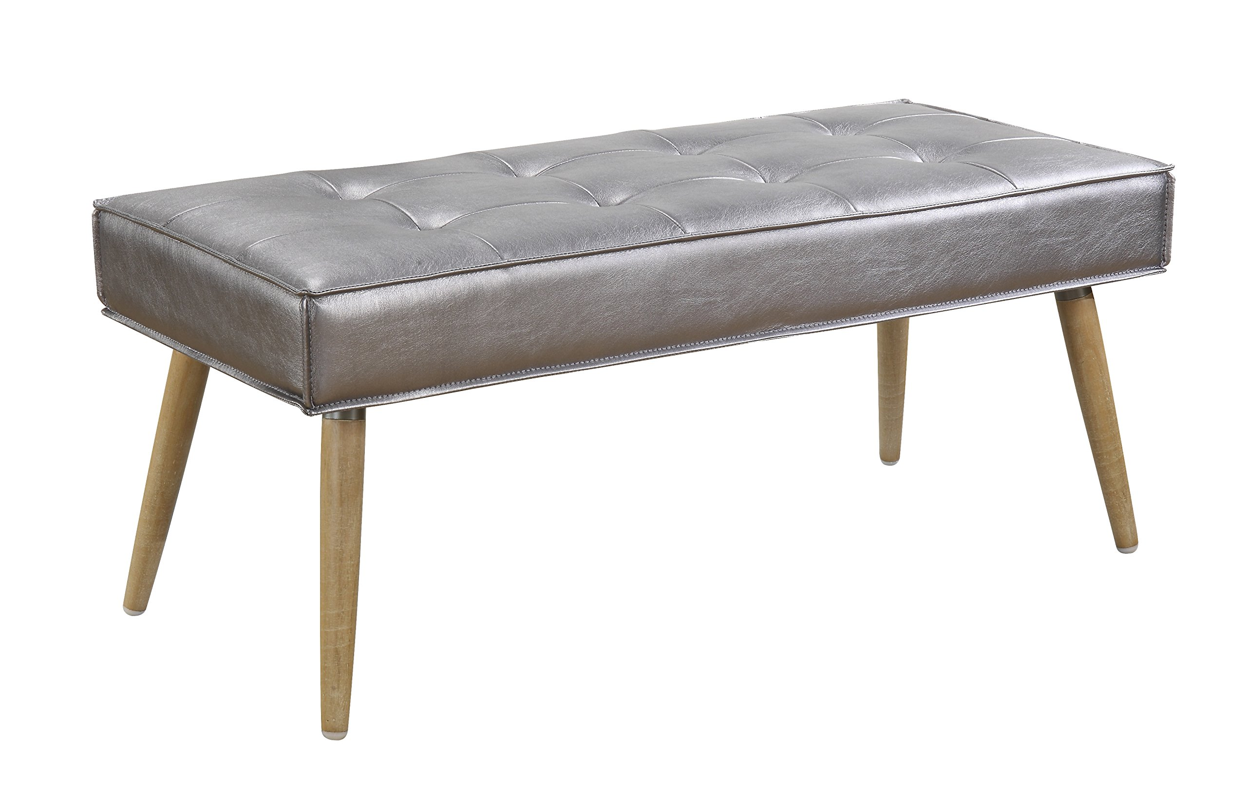 AVE SIX Amity Wooden Leg and Tufted Seat Bench with Piping, Sizzle Pewter