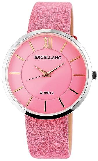 Reloj Rosa Plata Números Romanos analógico para mujer piel Reloj de pulsera   Amazon.es  Relojes f74a3af30263