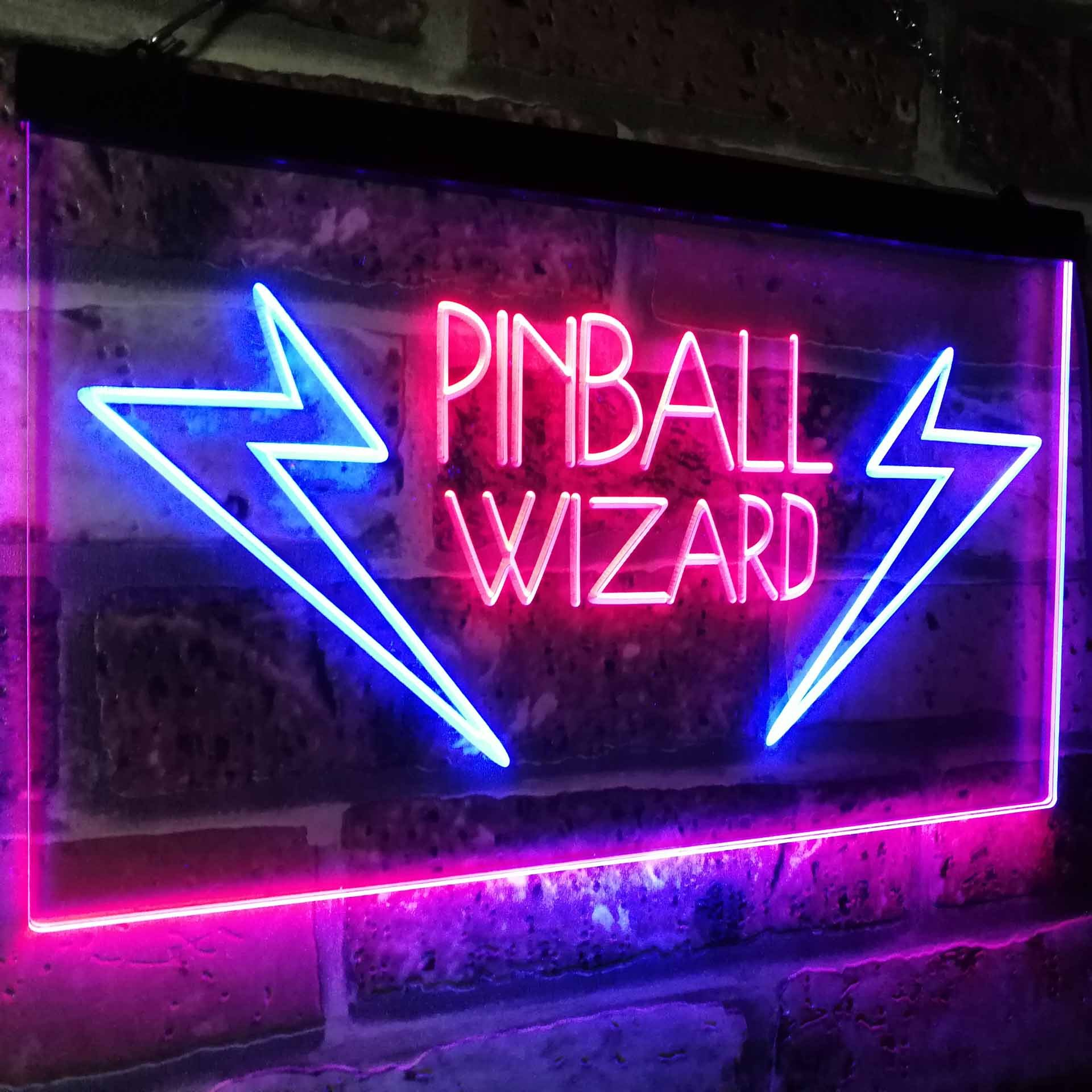 AdvpPro 2C Pinball Wizard Game Room Display Bar Beer Club Dual Color LED Neon Sign Blue & Red 12'' x 8.5'' st6s32-i2797-br by AdvpPro 2C (Image #4)