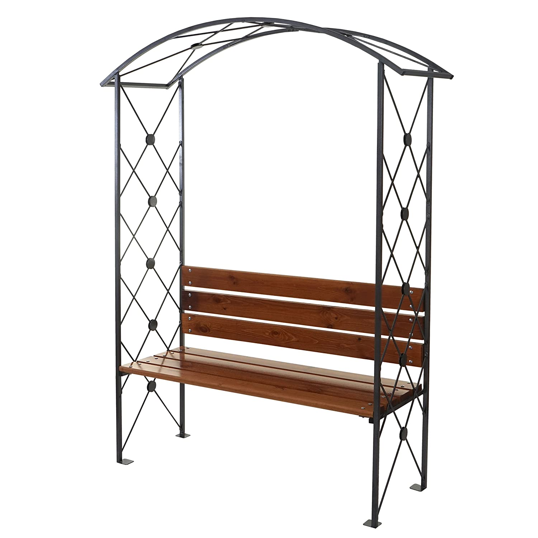 Rosenbogen Nalles, Rankgitter Gartenbank Rankhilfe mit Sitzbank, pulverbeschichtet Holz 210x155x50cm