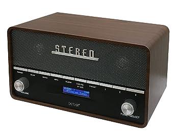 Denver Electronics DAB-36 Radio Digital Portatil con Bluetooth, Madera - Radio (Reloj