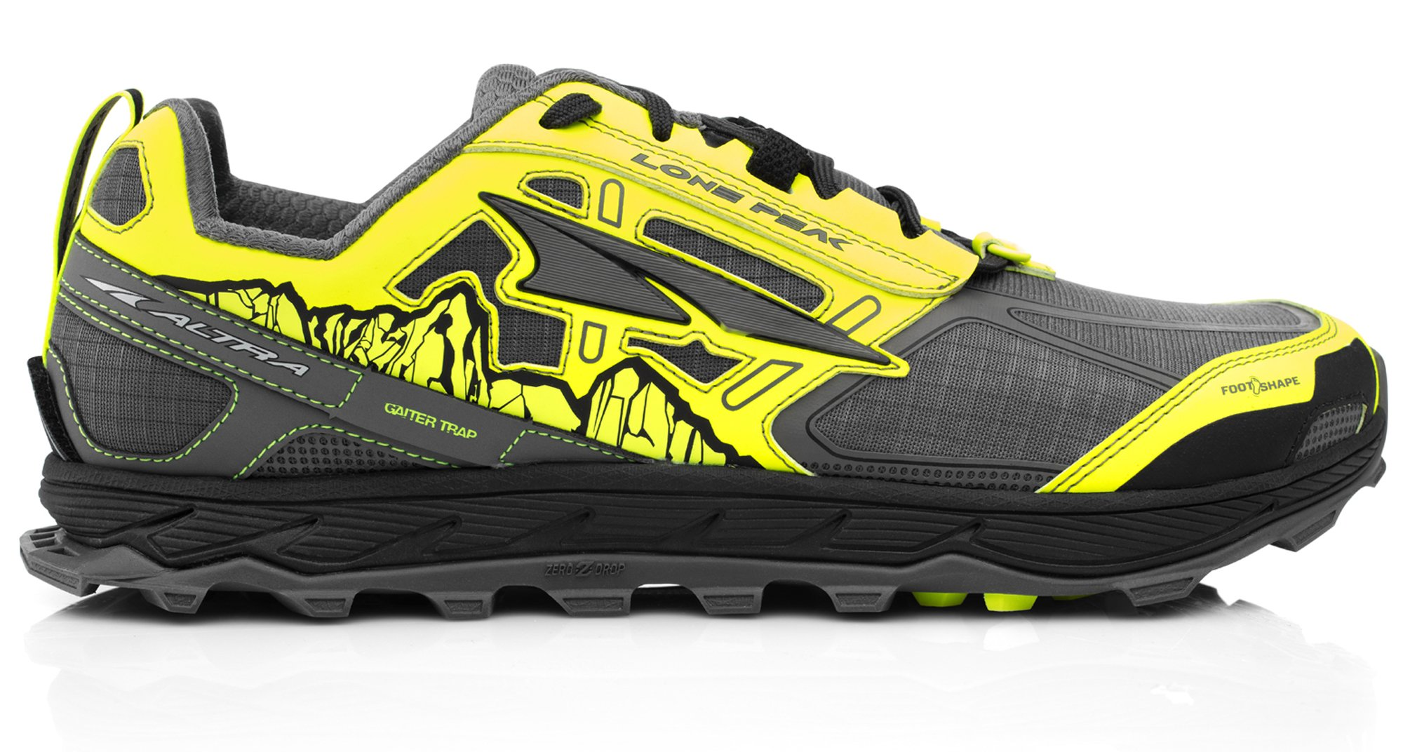 Altra AFM1855F Men's Lone Peak 4.0 Trail Running Shoe, Gray/Yellow - 7 D(M) US
