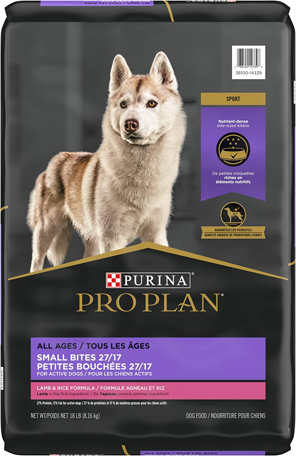 Purina Pro Plan High Protein, High Energy Dry Dog Food, Small Bites Lamb & Rice Formula - 18 lb. Bag