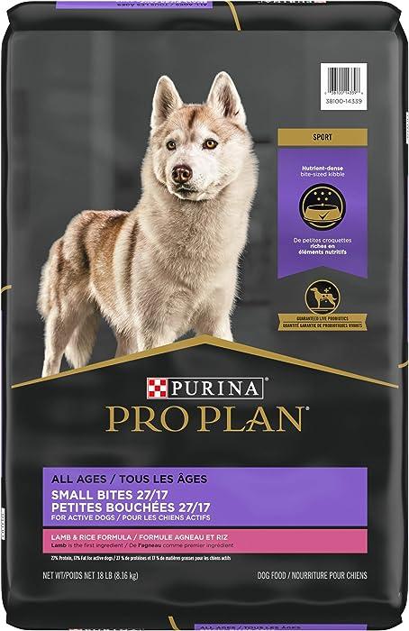 Purina Pro Plan High Protein, High Energy Dry Dog Food, Small Bites Lamb & Rice Formula - 18 lb. Bag