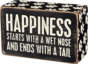 Primitives by Kathy 31145 Paw Print-Trimmed Box Sign, 4 x 2.5-Inches, Happiness Starts with A Wet Nose