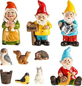 10 Pieces Fairy Gnomes Garden Accessories Kit Hand Painted Miniature Ornament Squirrel Rabbit Hedgehog Owl Bird and Bucket Decorations for Yard Lawn Indoor Outdoor Decor Ornaments
