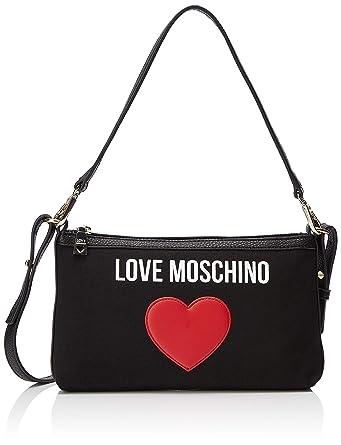 97b5012ae2 Love Moschino Borsa Canvas E Pebble PU, Sac à bandoulière Femme, Noir (Nero