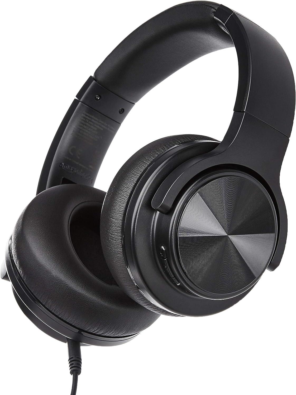 AmazonBasics – Auriculares inalámbricos circumaurales Bluetooth con conector microUSB y cable de audio de 3,5mm, negro