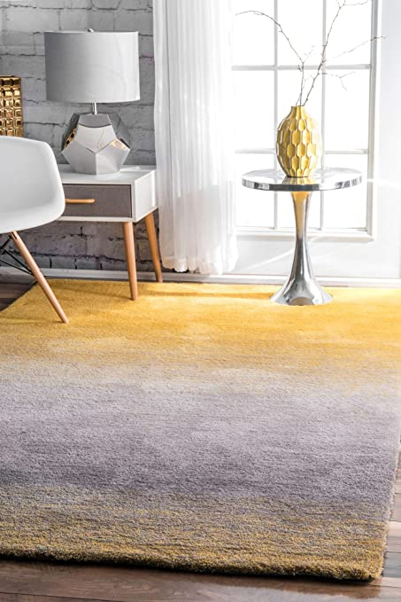 Amazon Com Modern Shag Rug Ombre Yellow Grey Shaggy Area Rug 4x6