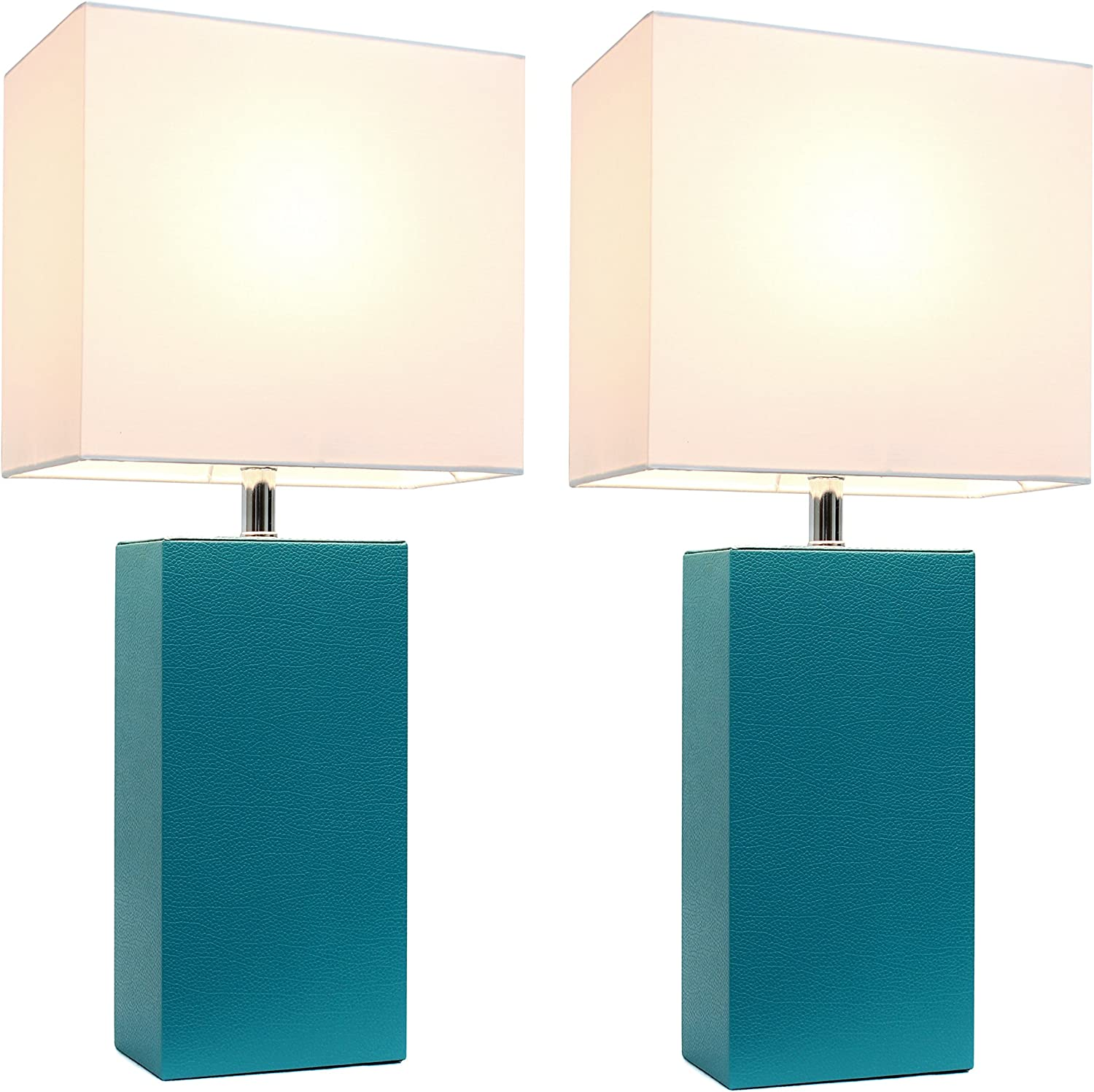 "Elegant Designs LC2000-GRN-2PK 2 Pack Modern Leather Table Lamps with White Fabric Shades, 3.9"", Green Teal"
