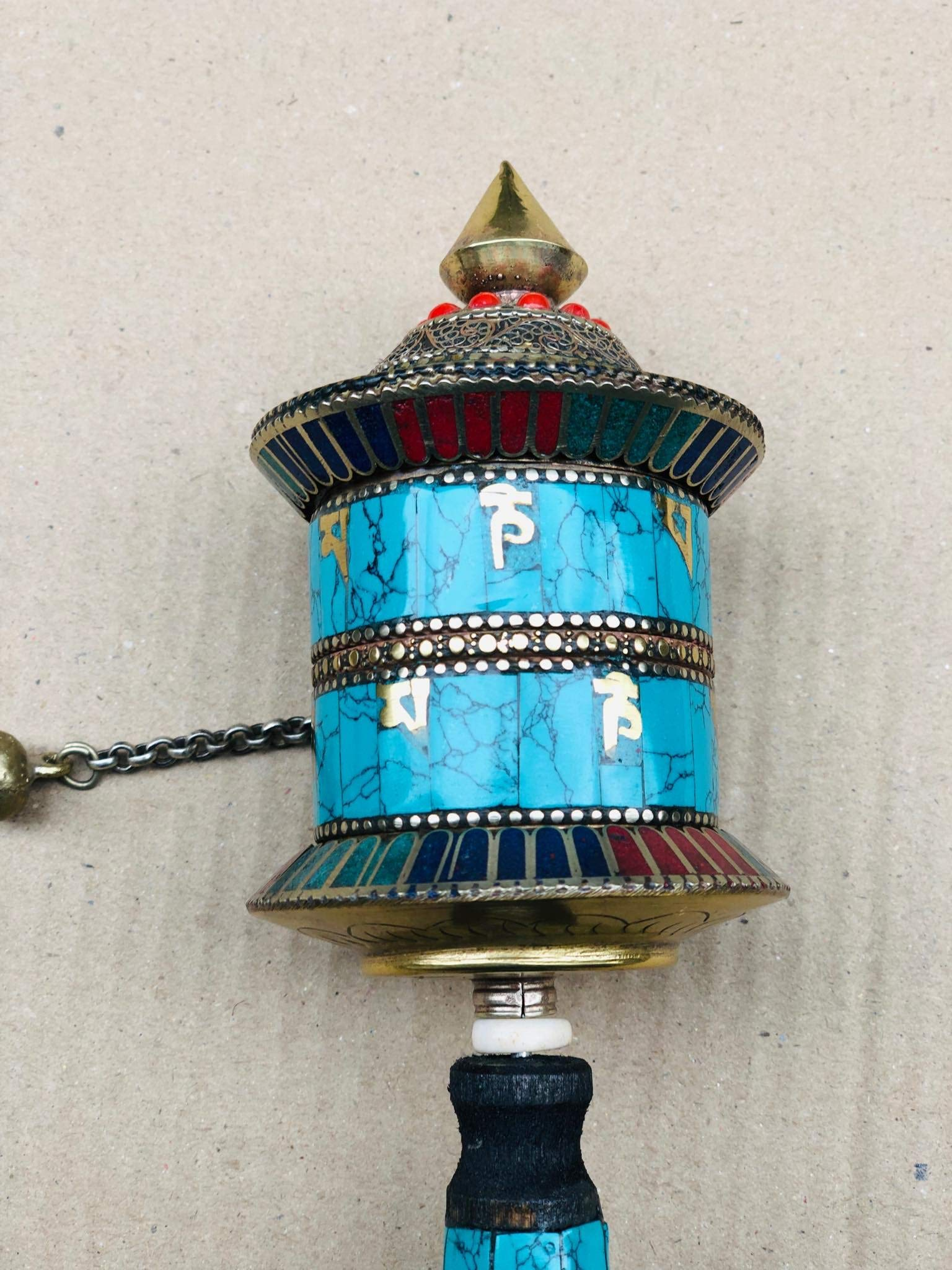 Buddhist Brass & Stone Set Hand-held Prayer Wheel - 9 Inch with Authentic Wooden Handle by Singing Bowl Nepal (Image #8)