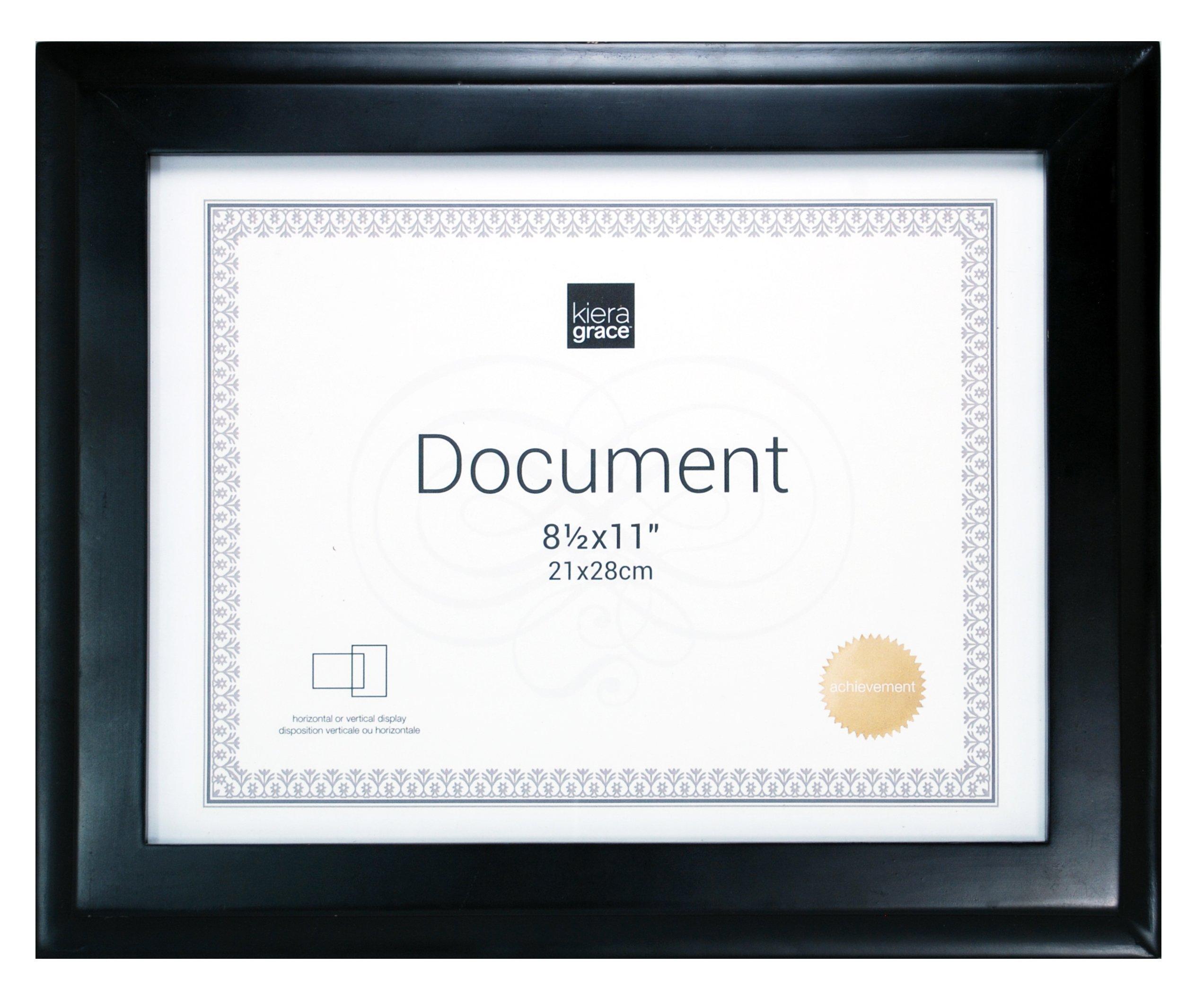Kiera Grace Oxford Wood Document Frame, 8.5 by 11 Inch - Black