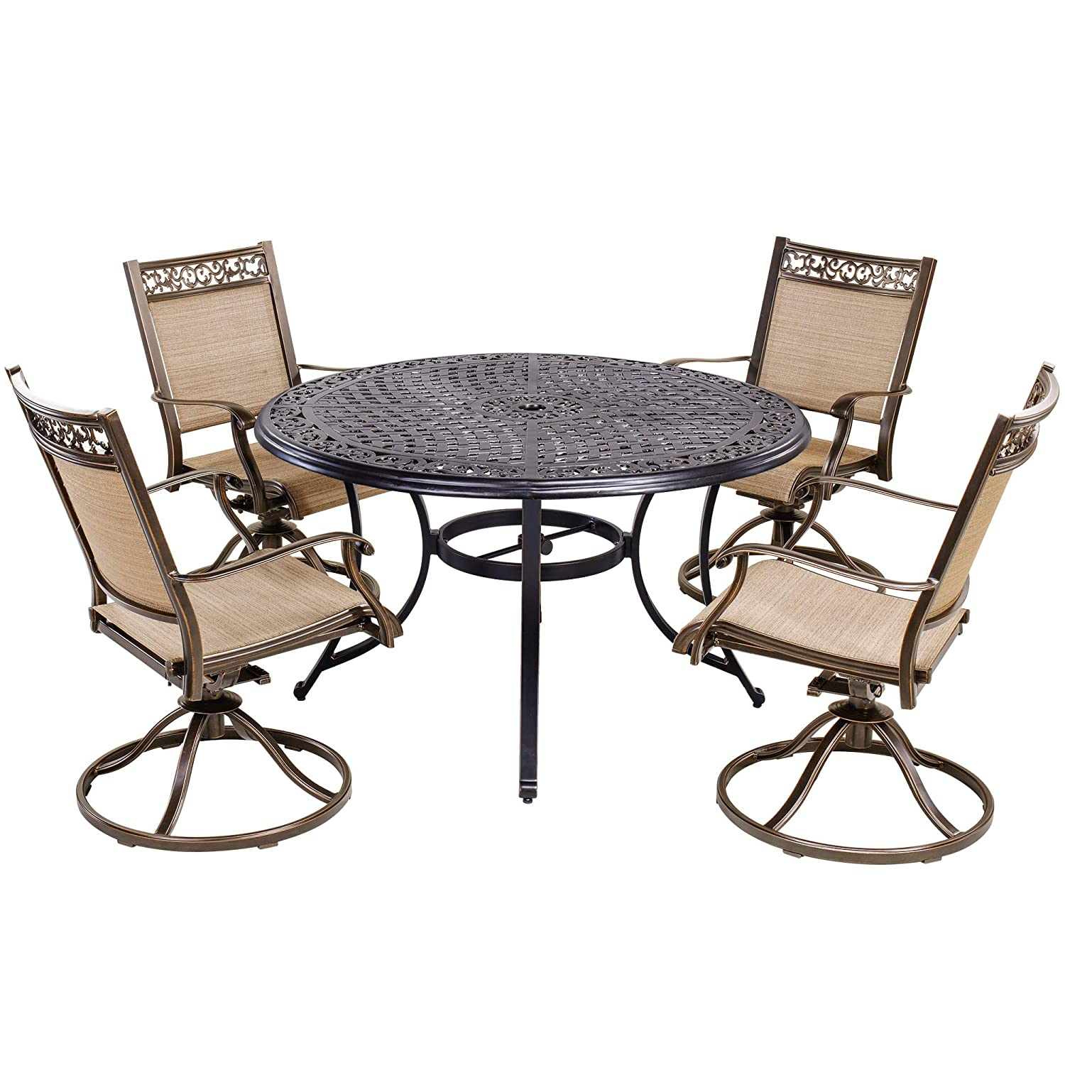 dali 5 Piece Patio Dining Set Outdoor Furniture, Aluminum Swivel Rocker Chair Sling Chair Set with 48 inch Round Alum Casting Table
