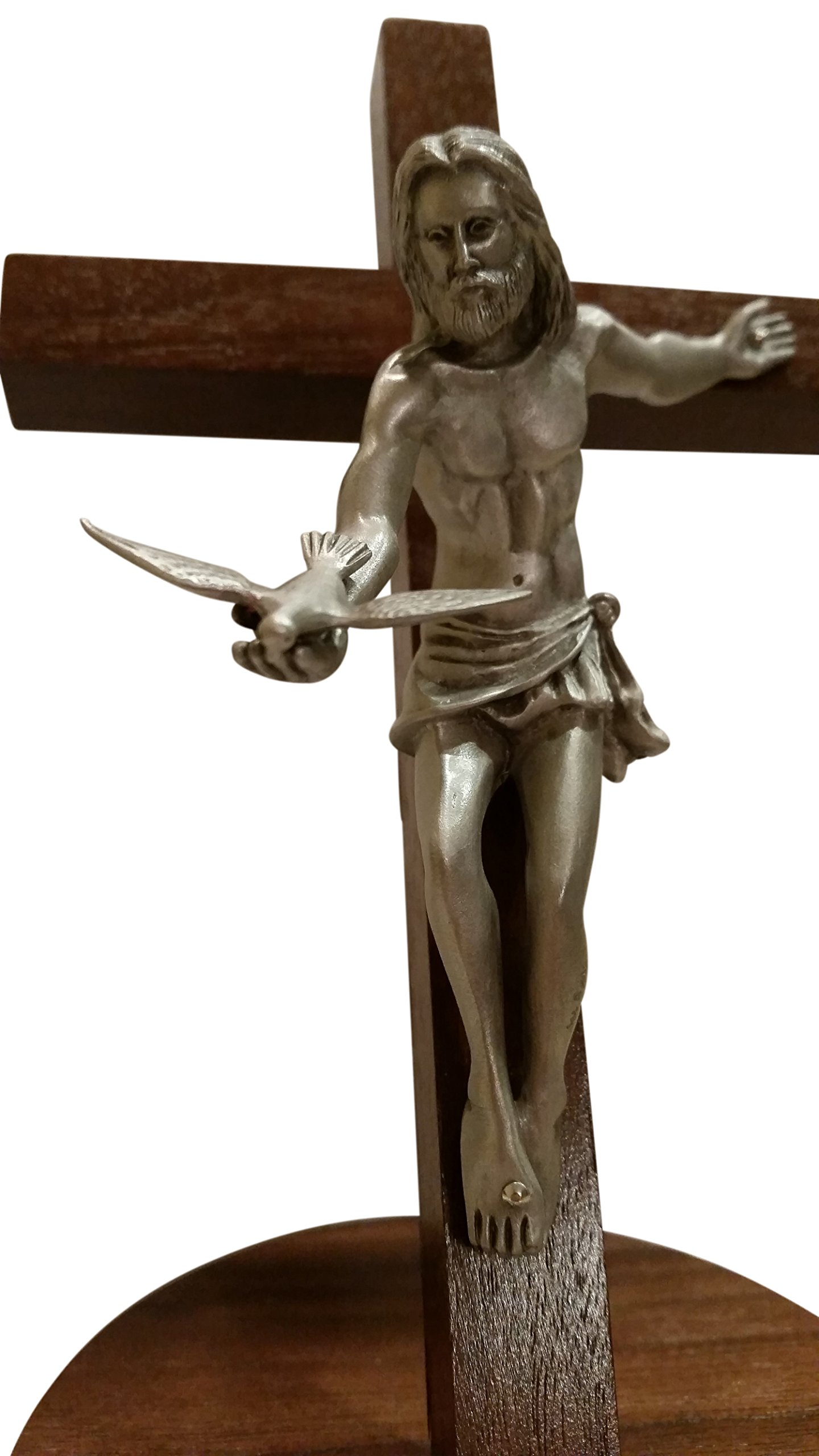 Inspire Nation Gift of the Spirit Walnut Wood Standing Wall Cross Crucifix with Removable Base for Hanging 8 inches by Inspire Nation (Image #4)