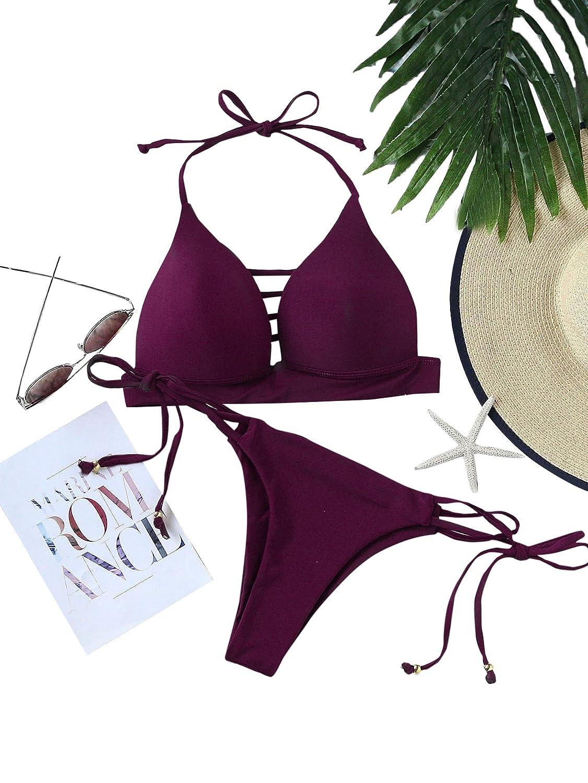 SOLYHUX Mujer Conjunto De Bikini Hater con Aberturas Y Cordones Laterales de baño Bikini,+2 PCS Traje de Baño 2019 Verano Sexy