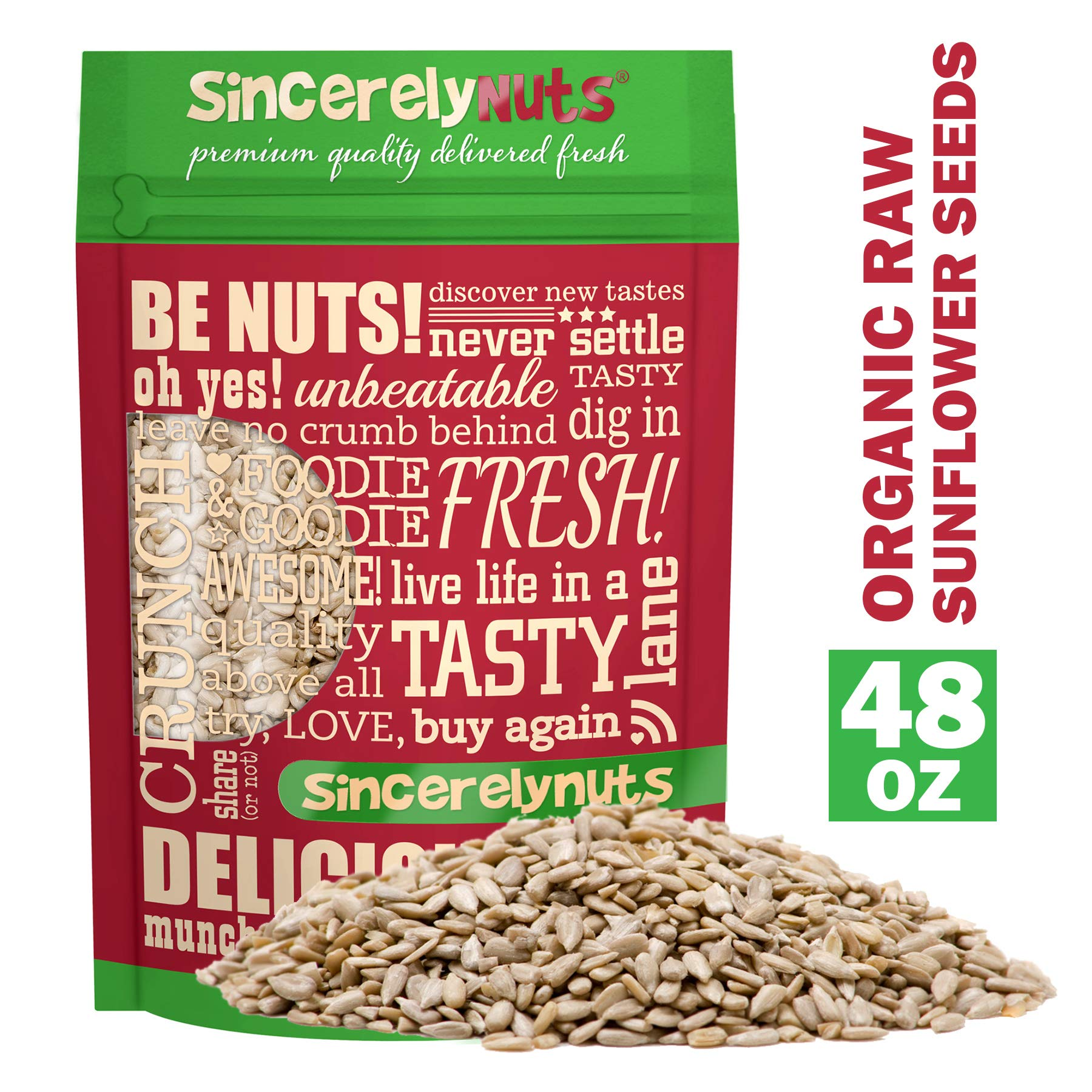Sincerely Nuts Organic Sunflower Seed Kernels Raw (No Shell) (3lb bag) | Nutritious Antioxidant Rich Superfood Snack | Source of Protein, Fiber, Essential Vitamins & Minerals | Vegan and Gluten Free by Sincerely Nuts