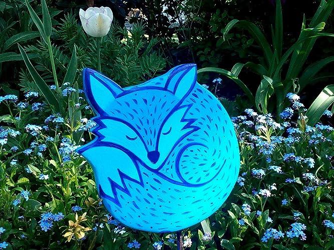 Blauer Fuchs Gartenstecker Figur Deko Garten Fuchs Tier Amazon