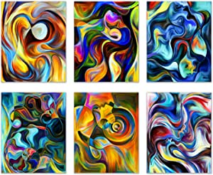 "Infinity Creations Abstract Modern 'Series Within' Pieces of Art (Photos) - Colorful Interpretation Showing Passion, Unity, Love, Nature, Inner Dialog, and Life-Set of 6 Unframed Photos (8""x10"")"