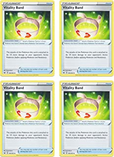product image for Pokemon Card - Vitality Band - Sword and Shield Base - x4 Card Lot Playset - 185/202 Uncommon