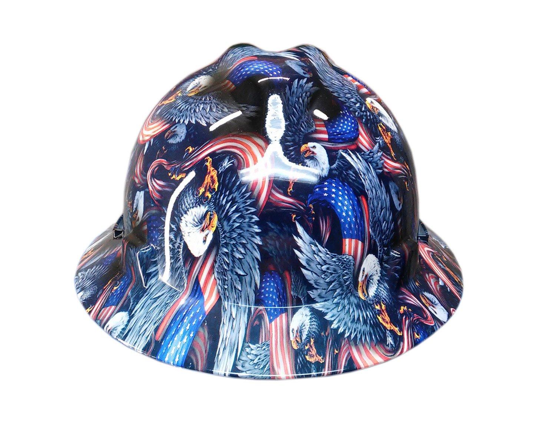 Izzo Graphics Eagle Flag MSA V-Guard Full Brim Hard Hat