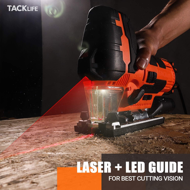 20mm Hauteur de Course Laser 6 Vitesses R/églables 0-3100 SPM,4 Modes de Coupe 6 Lames Bo/îte de Rangement/-TJS02A LED TACKLIFE 800W Scie Sauteuse /±45 /° Angle dinclinaison